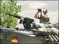 German soldier on a tank in Afghanistan