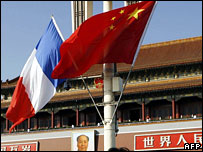 French and Chinese flags fly in Tiananmen Square
