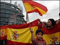 Spaniards demonstrate outside the European Parliament in Strasbourg