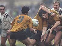 Swansea v Australia, 1992 - Richard Moriarty gets to grips with Tim Gavin