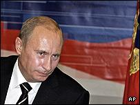 Russian President Vladimir Putin is seen during a nationally televised question-and-answer session in Moscow
