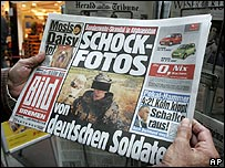 German newspaper Bild photo showing a soldier with a skull