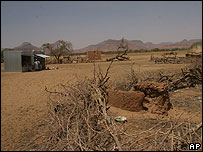 The largely destroyed and abandoned market place in Madu village, Darfur