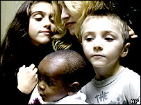 Madonna with her children, Lourdes (left) and Rocco, and David Banda