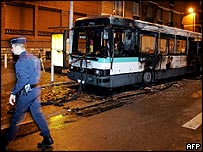 Burnt bus in Nanterre