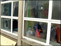Windows have been smashed in several schools