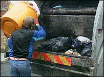A bin man emptying rubbish into a dustcart