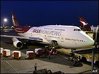 Oasis plane at Hong Kong international airport on Wednesday 25 October 2006