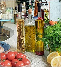 A selection of oils and fresh ingredients