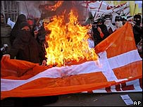 Protesters burn a Danish flag in Pakistan in February