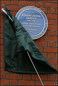 Blue plaque in honour of Bob Marley