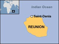 Map showing Reunion