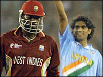 Chris Gayle (left) and Munaf Patel