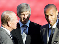 The Duke of Edinburgh meets Arsenal's Arsene Wenger and Thierry Henry