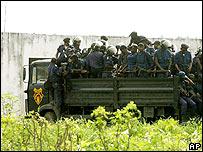 Armed police outside Kinshasa's main prison