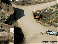 Vista del muro entre EE.UU. y México