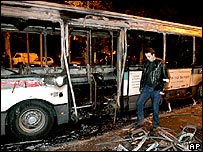 Burnt bus in Nanterre, north-west Paris