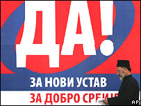 "Billboard reading ""Yes"" in favour of the new Serbian constitution"