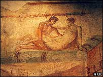 An erotic fresco in Lupanare, Pompeii