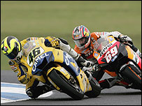 Valentino Rossi (L) and Nicky Hayden