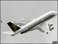 Airbus A380 in Singapore Airlines livery takes off during a practice run