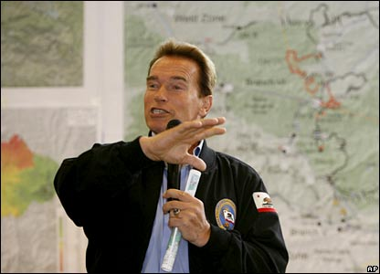 Arnold Schwarzenegger speaking to a crowd in California