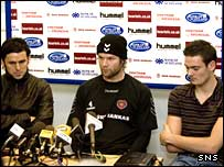 From left: Paul Hartley, Steven Pressley and Craig Gordon