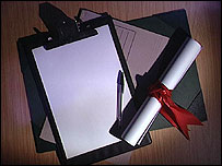 A scroll of paper, a clipboard and pen