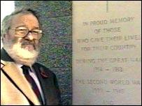 Cliff Housley, of Sawley Parish Council, at the memorial