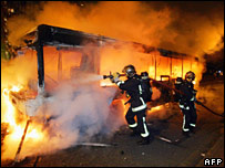 Firefighters tackle a blazing bus in Blanc Mesnil on 27 October
