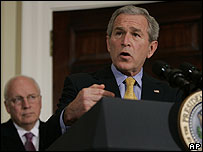 US President George W Bush, and Vice President Dick Cheney in the background