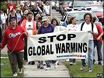 Protesters against global warming