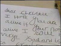 A child's handwritten note