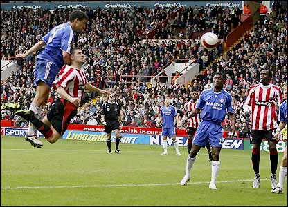 Ballack outjumps Nick Montgomery to score
