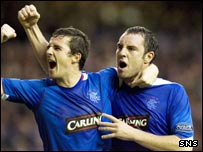 Rangers' Boyd (right) celebrates his goal with Barry Ferguson