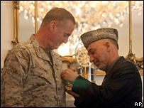 Gen Jones meeting Afghan leader Hamid Karzai on 28 October