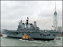 HMS Ark Royal (courtesy of the Royal Navy) returning to Portsmouth