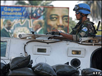 A UN peacekeeper in Kinshasa on 28 October
