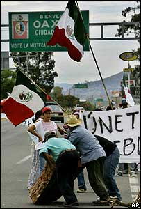 Protesters set up a roadblock in Oaxaca, Mexico