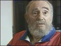 Image of President Fidel Castro on Cuban TV (28 October 2006)