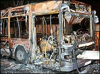 A bus in Blanc Mesnil, north of Paris, set on fire on 27 October