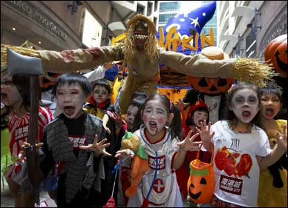 Kids in Hong Kong celebrating Halloween