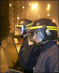 Riot police officers in Montfermeil during disturbances Oct 2006