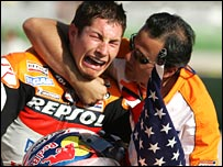 Nicky Hayden celebrates his MotoGP title.