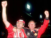Bryan Robson and Sir Alex Ferguson celebrate United's 1990 FA Cup success