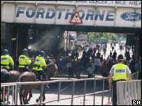 Police during trouble in the city centre before a Cardiff match in 2000