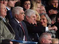 Sam Hammam flanked by Neil Kinnock and Peter Ridsdale at the Derby game