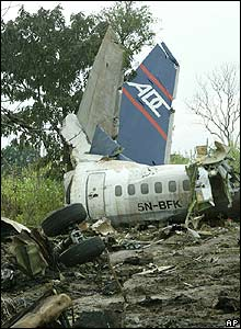 Wreckage of a Nigerian airliner in a field in Abuja, Nigeria