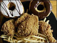 Fried chicken, French fries and doughnuts