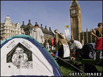 Protesters camp out in Parliament Square